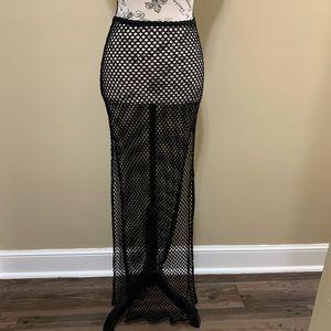 Windsor Black Fishnet Medium Maxi Skirt